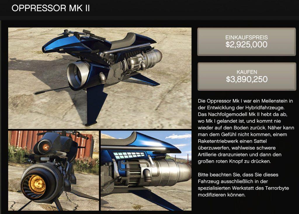 GTA Online Oppressor MK 2 Shop