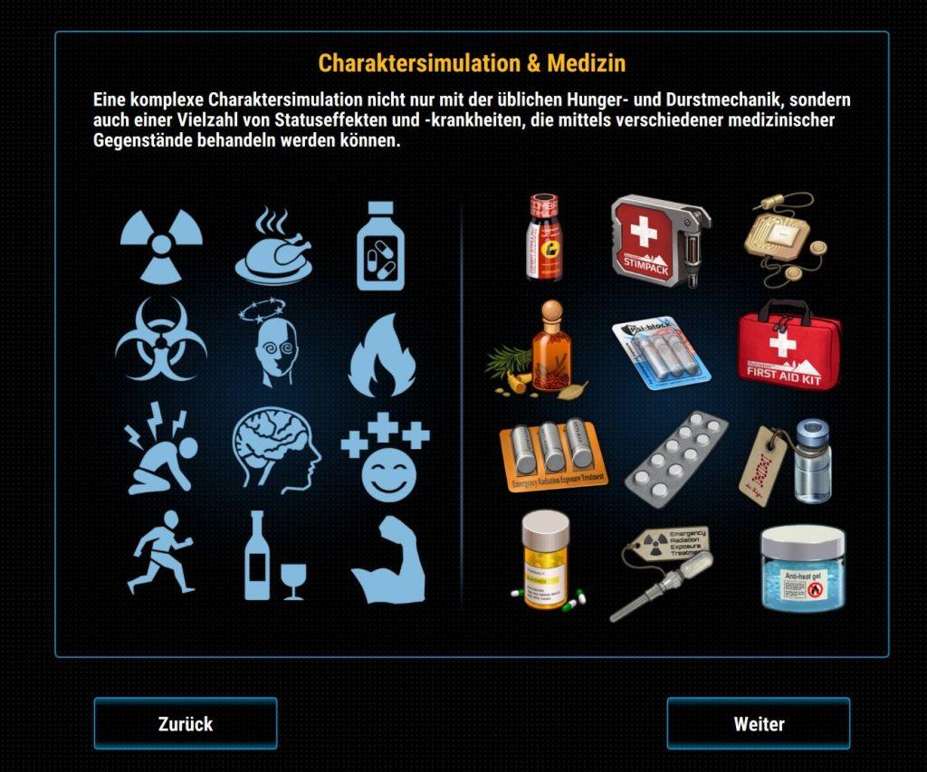 Cryofall Medizin und Statuseffekte