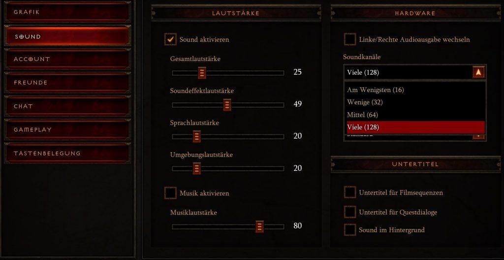Diablo 3 Sound Einstellungen