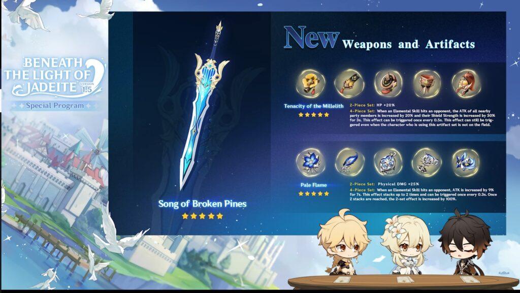 Genshin Impact Patch 1.5 Waffen und Artefakte