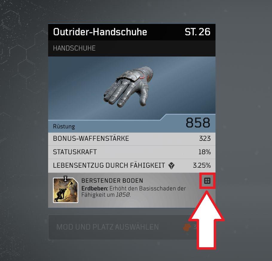 Outriders Handschuhe Crafting Markierung