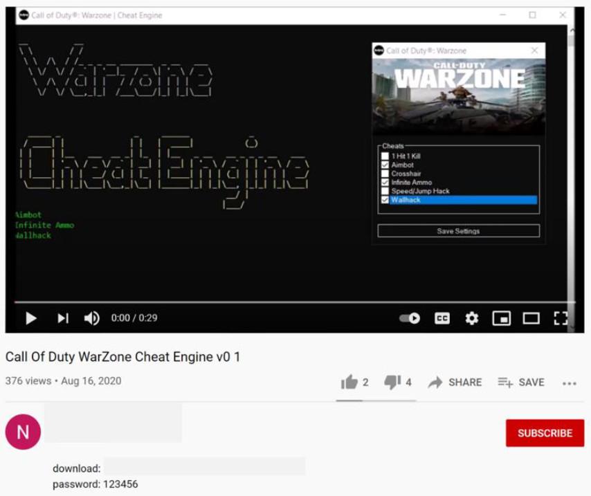 cod warzone hacker fake-cheat über youtube