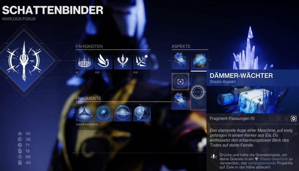 Dämmer Wächter Stasis Aspekt Warlock Destiny 2