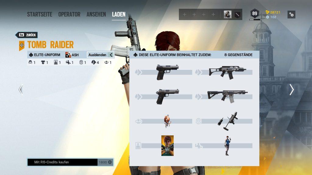Rainbow Six Siege Elite Skins Ash Tomb Raider Zusatz