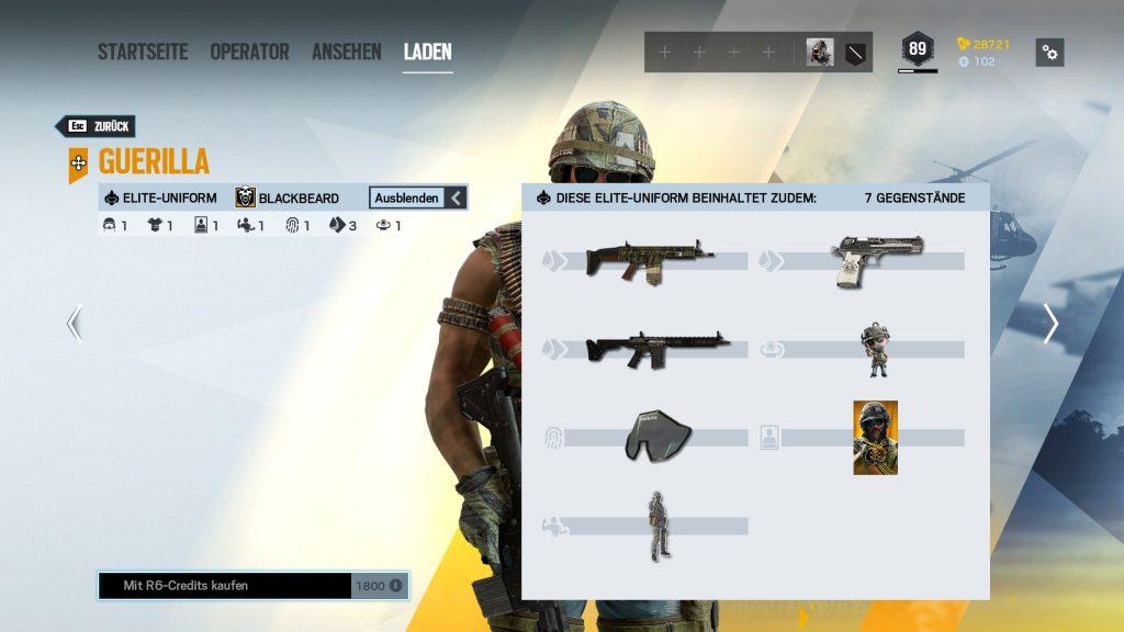 Rainbow Six Siege Elite Skins Blackbeard Zusatz