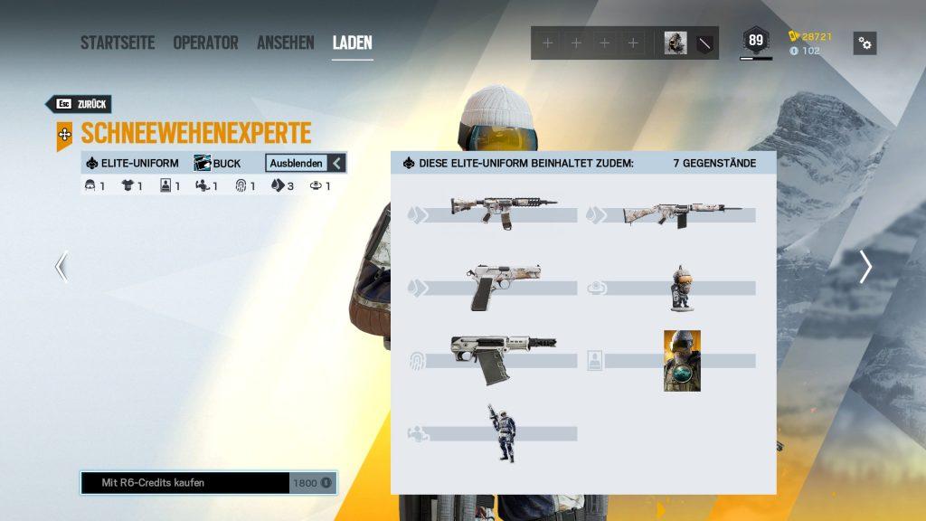 Rainbow Six Siege Elite Skins Buck Zusatz
