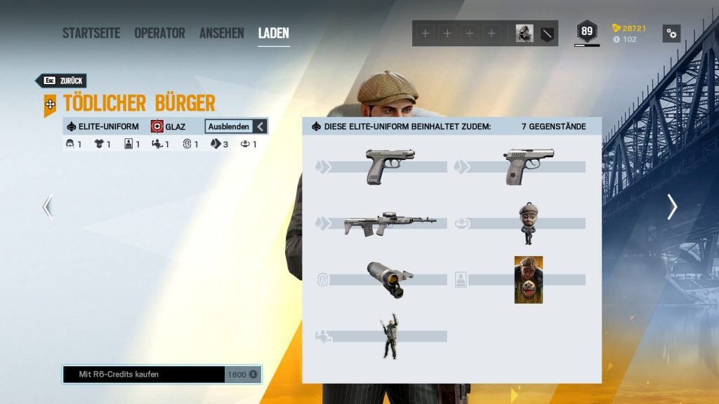 Rainbow Six Siege Elite Skins Glaz Zusatz