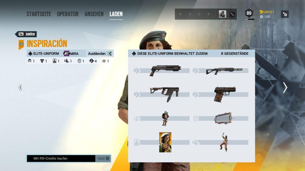 Rainbow Six Siege Elite Skins Mira Zusatz