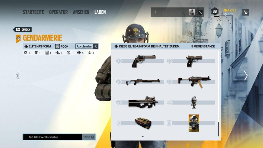Rainbow Six Siege Elite Skins Rook Zusatz