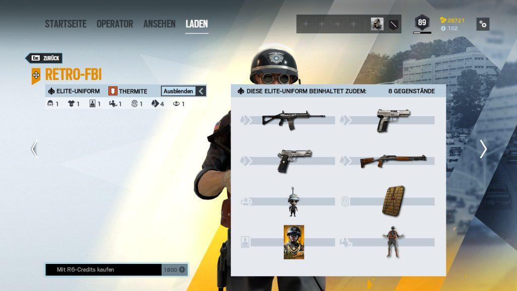 Rainbow Six Siege Elite Skins Thermite Zusatz