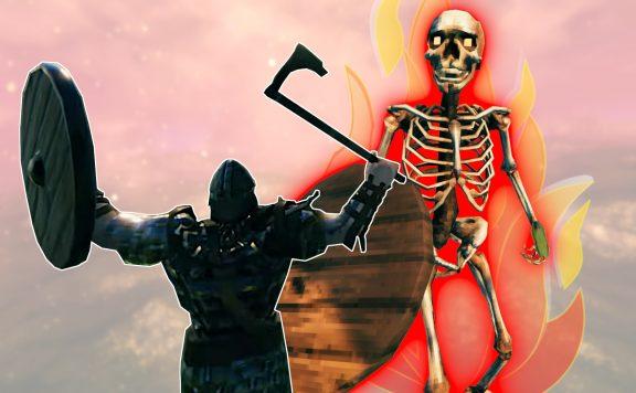 Valheim Aschenlande brennendes Skelett Titel