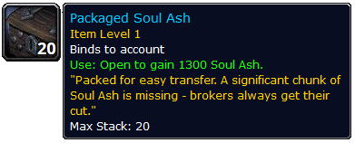 WoW Packed Soul Ash Item