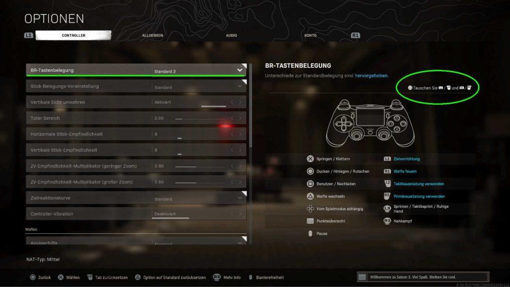 cod warzone settings trigger tauschen
