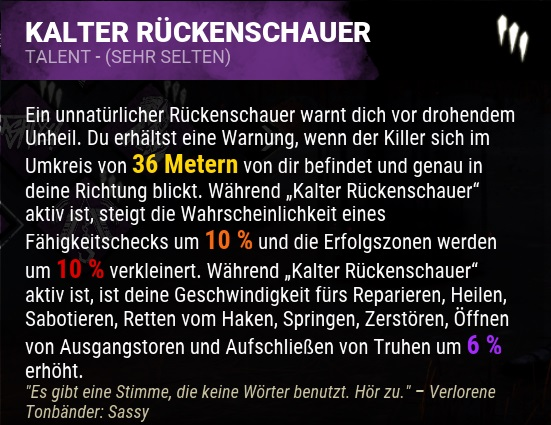Dead by Daylight Kalter Rueckenschauer Perk