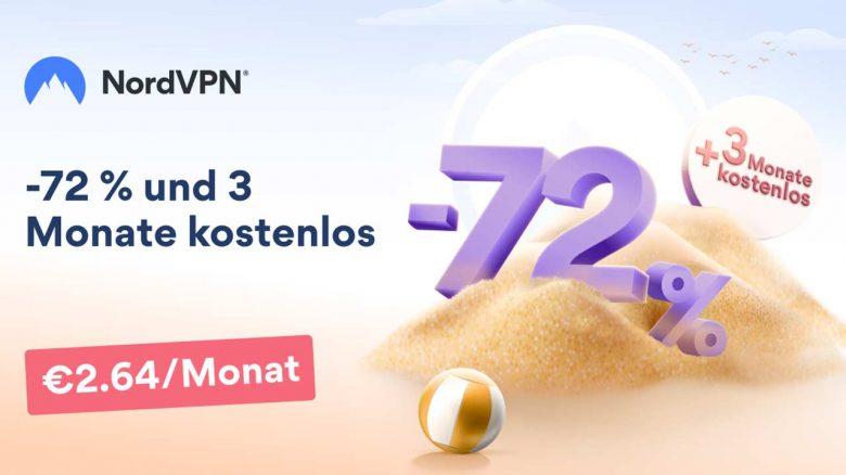NordVPN im Sommerangebot: Jetzt 72% Rabatt & 3 Monate gratis