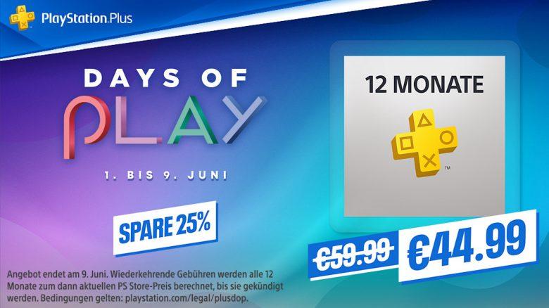 Days of Play im PS Store: Schnappt euch jetzt 12 Monate PS Plus mit 25% Rabatt