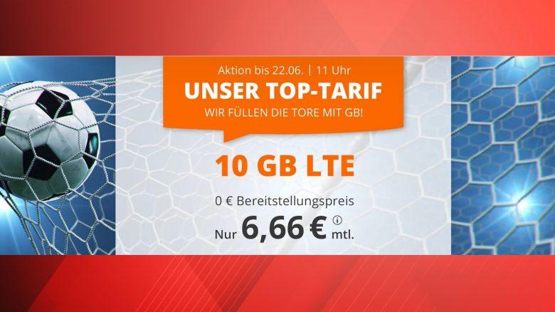 Günstiger Handyvertrag mit 10 GB LTE für nur 6,66 Euro monatlich zur EM
