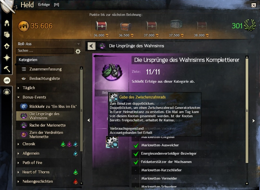 Guild Wars 2 Marionette Erfolge