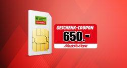 Bis zu 650 Euro Einkaufsgutschein zum Handy-Tarif aktuell bei MediaMarkt