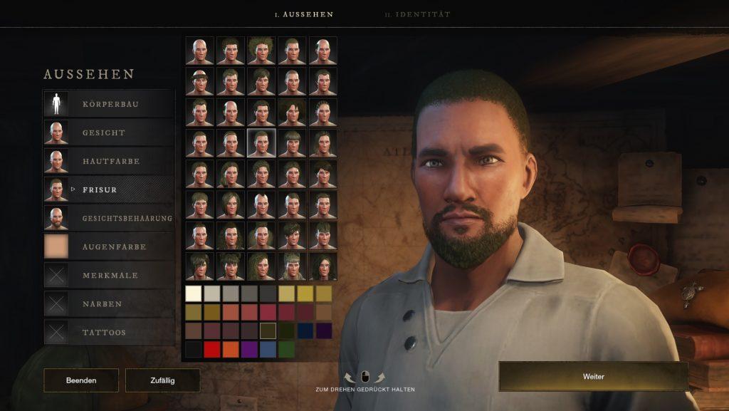New World Charakteroptionen
