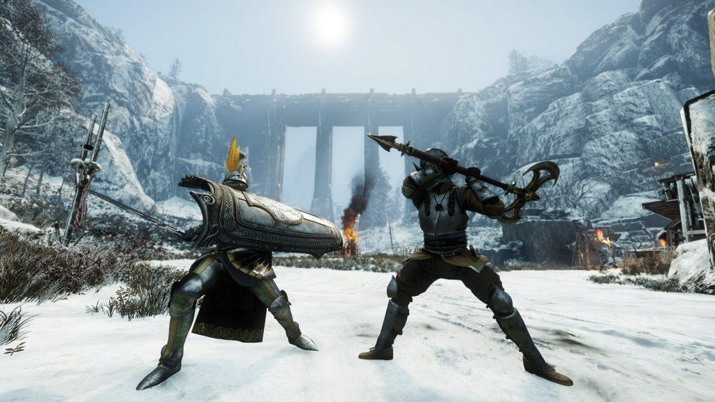 Zwei Spieler von New World in einem Duell