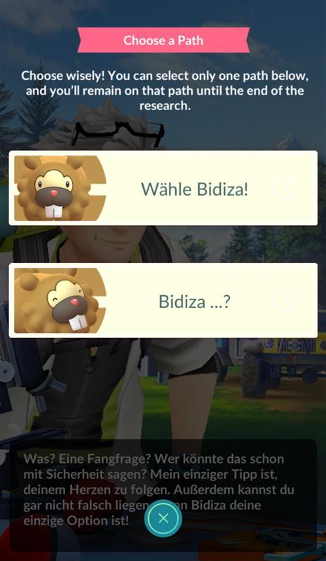 Pokemon go wähle bidiza