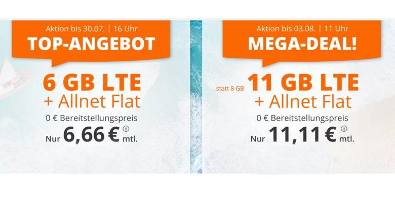 Günstige Mobilfunktarife – 6 GB Datenvolumen mit Allnet Flat für 6,66 Euro