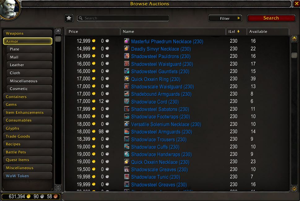 wow shadowlands 230 items auktionshaus