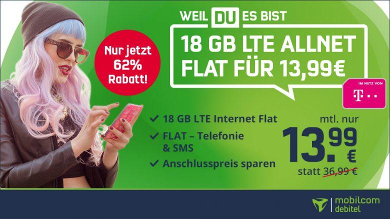 Letzte Chance: 18 GB LTE Telekom Allnet Flat zum Bestpreis für nur 13,99