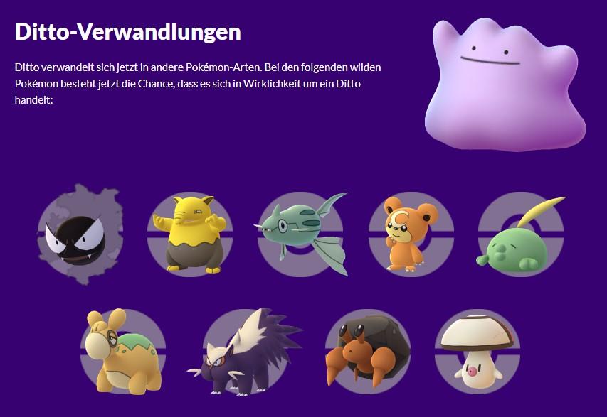 Pokémon GO Ditto Verwandlungen Saison des Schabernacks