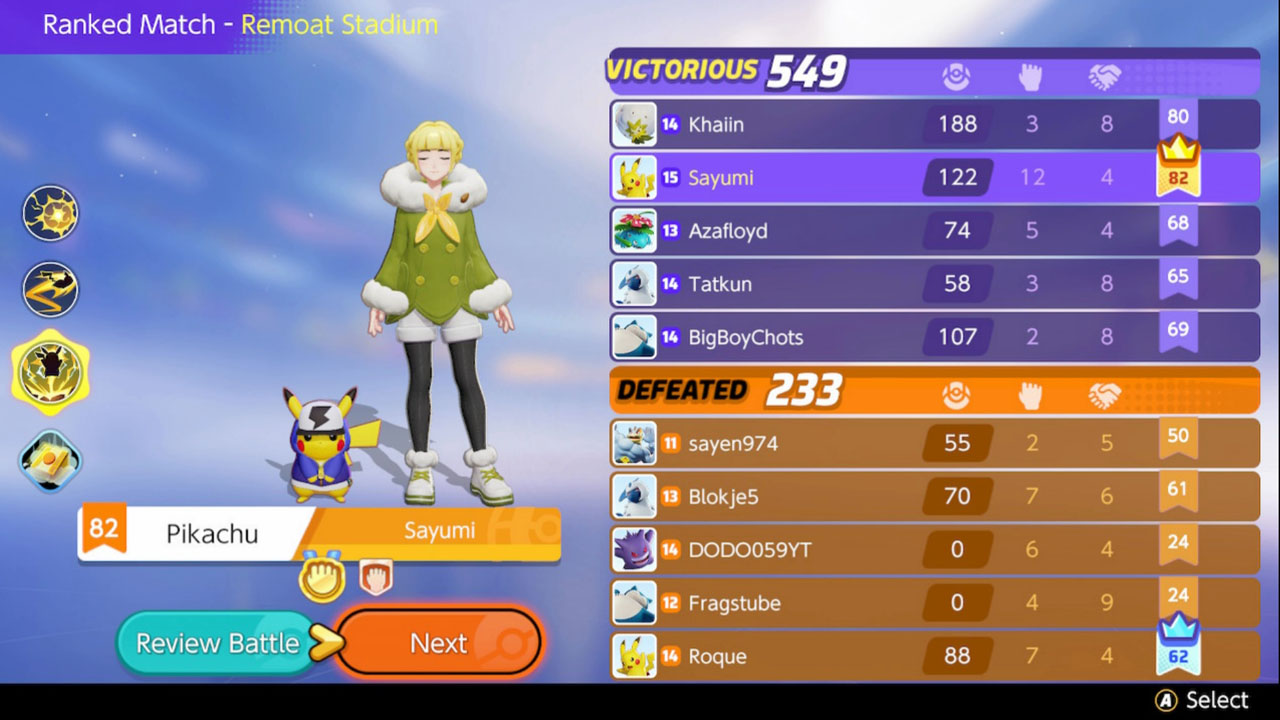 Pokemon Unite ranked match