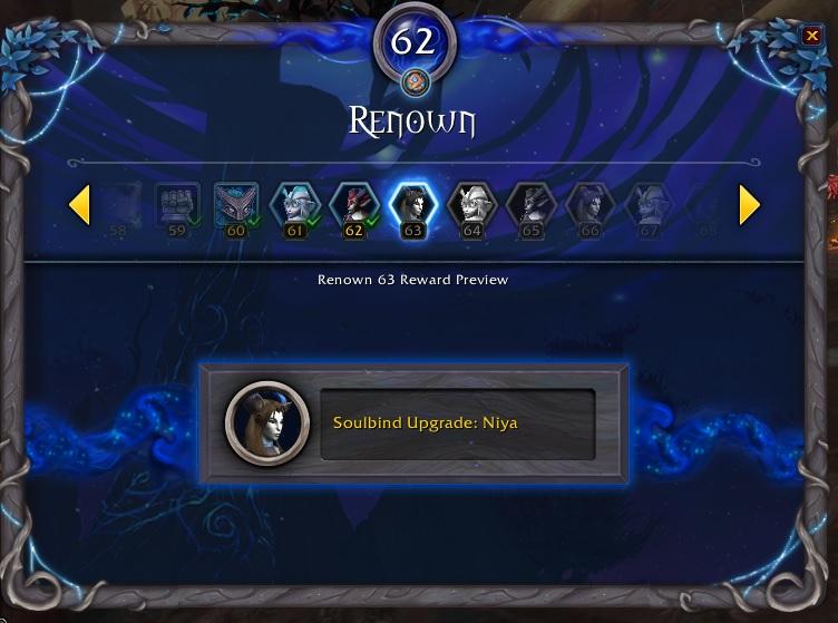 WoW Niya Soulbind Upgrade Renown