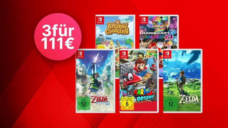 MediaMarkt Angebot: 3 für 111 Euro – Spiele für Nintendo Switch zum Bestpreis