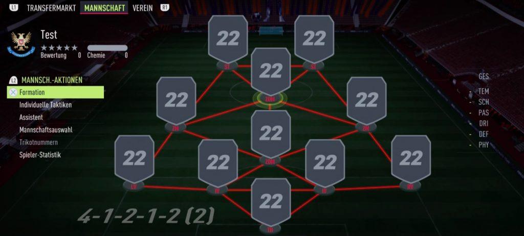 4-1-2-1-2 FIFA 22 Formation