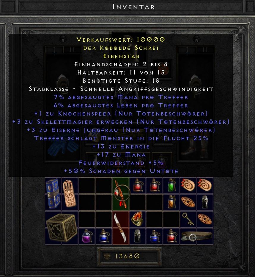 DIablo 2 Resurrected Eibenstab Necro Skill