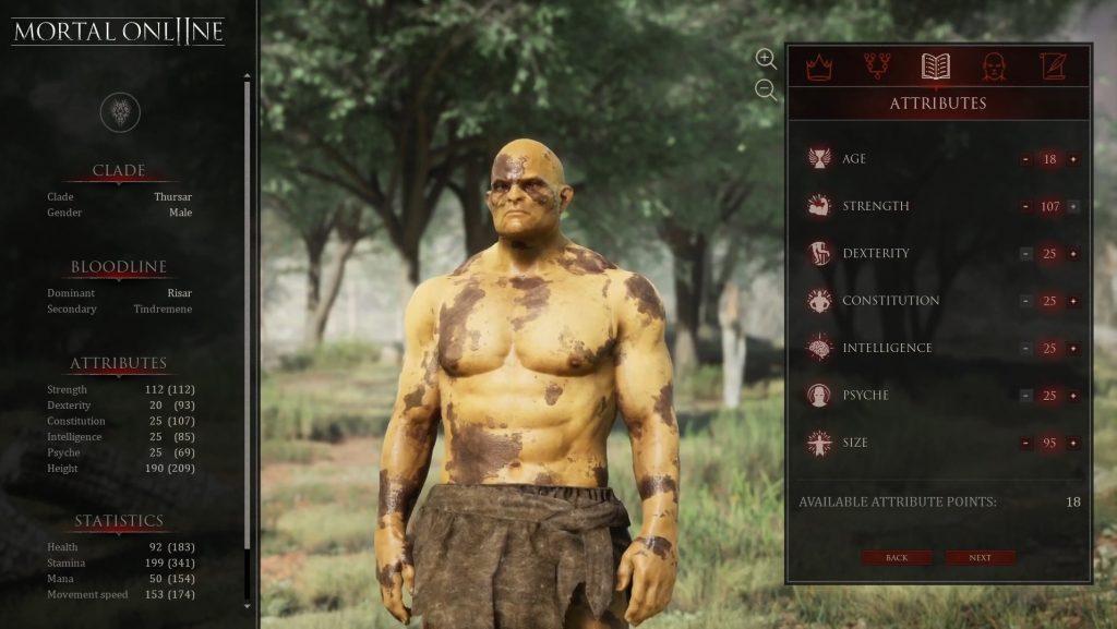 Mortal Online 2 Charaktererstellung