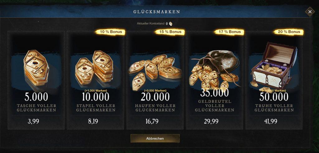 New World Glücksmarken