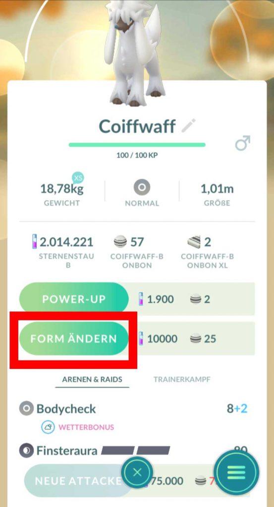 Pokémon-GO-Coiffwaff-Form-Ändern