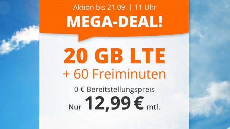 20 GB LTE-Handytarif mit Freiminuten zum Top-Preis bei Sim.de