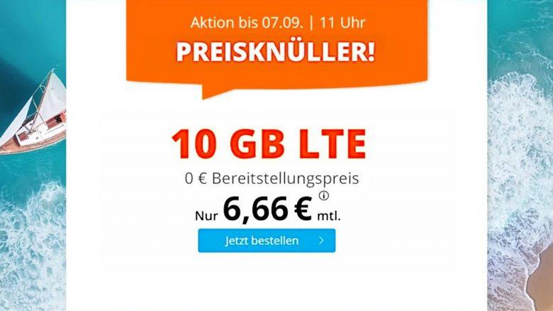 10 GB LTE-Datenvolumen aktuell für nur 6,66 Euro im Monat bei Sim.de