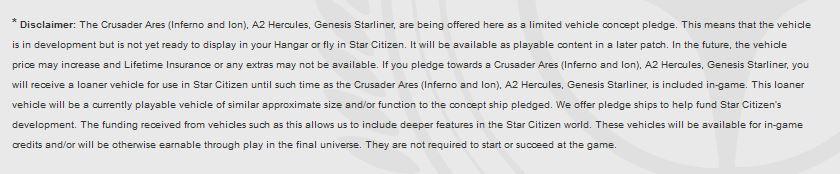 star citizen disclaimer