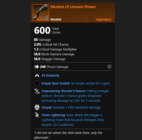 Musket of the Unseen Power