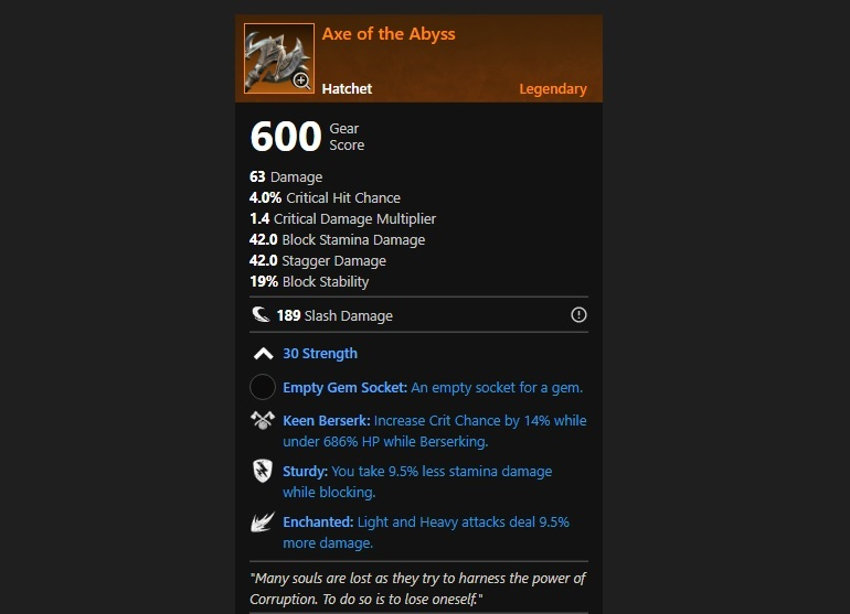 New World Legendary Axe of the Abyss