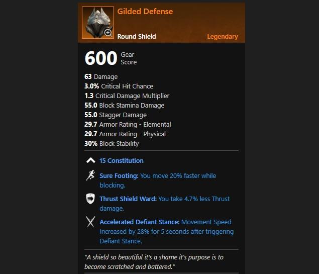 New World Legendary Gilded Defense