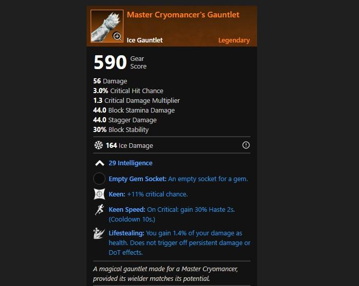 New World Legendary Master Cryomancers Gauntlet
