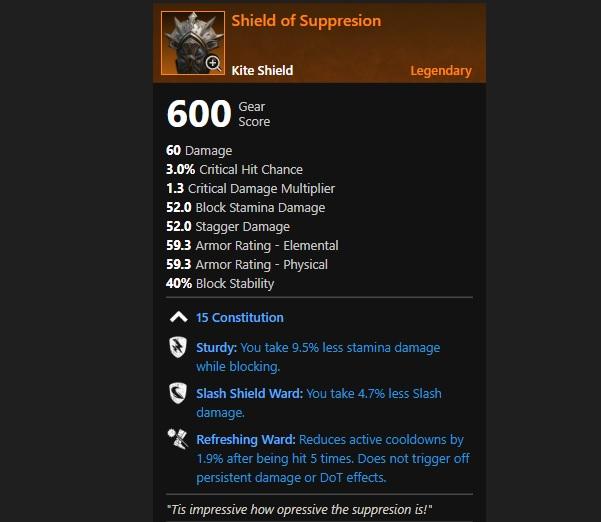 New World Legendary Shield of Suppression