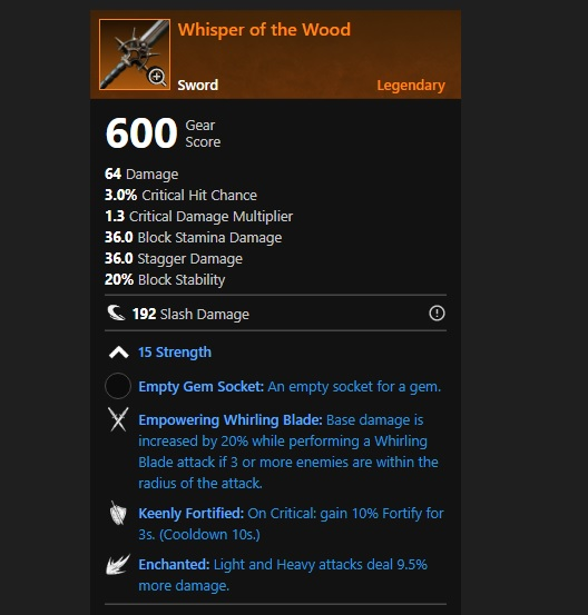 New World Legendary Wispers of the Wood