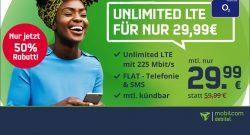 Handyvertrag mit unbegrenztem LTE Datenvolumen für nur 29,99 Euro!