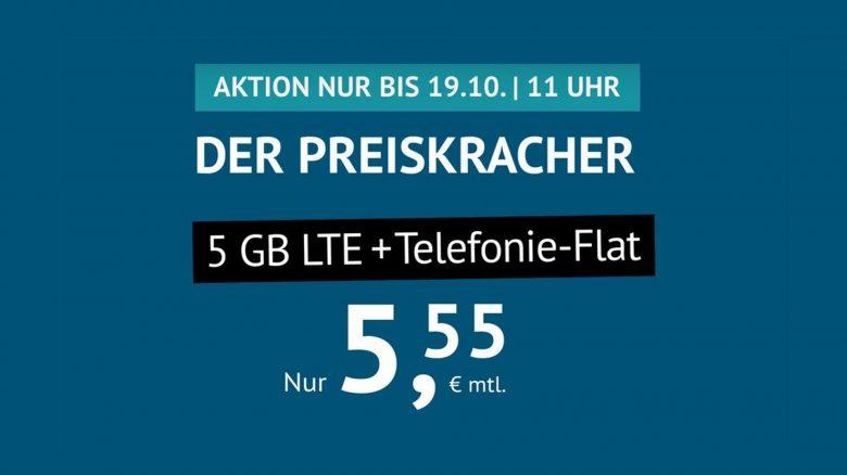 Nur 5,55 Euro: 5-GB-Tarif mit Telefonie-Flat aktuell bei Handyvertrag.de
